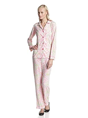BH PJ's by BedHead Pajamas Women's Classic Notch Collar Pajama Set (Ditsy Pink)
