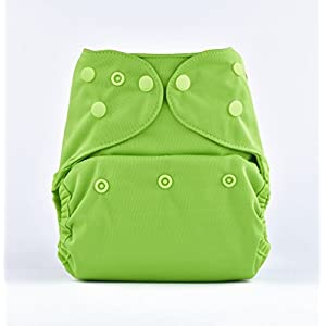 Bumberry Cloth Diaper Cover (Light Green) + One Natural Bamboo Cotton Insert