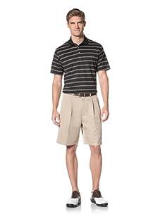 PGA Tour Men's Short Sleeve Stripe Polo (Caviar)