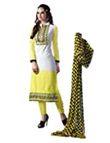 featuring embroidered all over that lends it beauty Cotton yellow coloured semi stiched dress