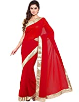 Parchayee Women's Georgette Saree (94345C, Red, Free Size)