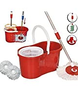 Red Color Easy Life Easy Mop 360° Magic Mop 360 DEGREE ROTATING FAST SPINDRY 2 MOP HEADS-By Gadgetbucket