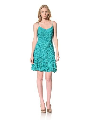 Theia Womens Laser Cut Coin Swing Dress (Pacific Blue)