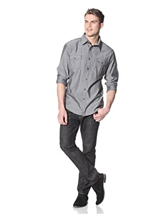 Dorsia Men's Ray Long Sleeve Button-Up Shirt (Grey)