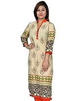 Chhipa 100% Cotton Women Kurta (2290_Beige_42)