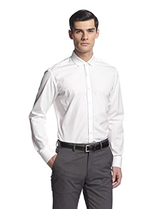 Salvatore Ferragamo Men's Dress Shirt with Knit Collar (White)