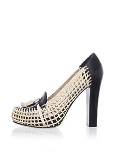 Chelsea Paris Women's Moho Woven Platform Loafer (Black/Sand)