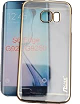 nCase Back Cover for Samsung Galaxy S6 Edge (Transparent, Gold)