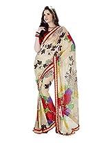 Yomeeto Wetless Fabric Cream Coloured Printed Saree
