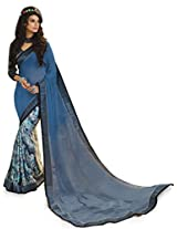 Inddus Women Blue Georgette Printed saree
