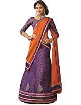 Suchi Women Net Lehenga Saree (Sfjag90196 _Purple _Free Size)