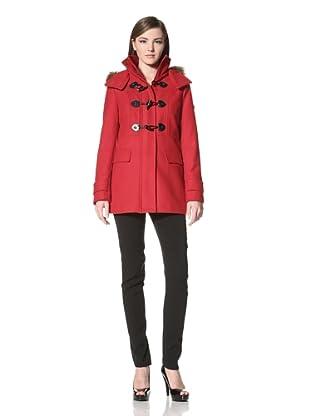 Calvin Klein Women's Wool Jacket with Toggle Closure (Crimson)