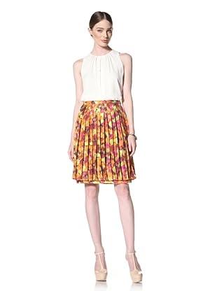 Peter Som Women's Rose Print A-Line Skirt