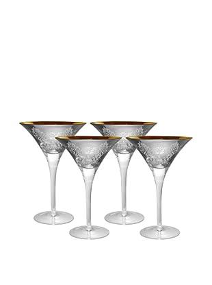 Artland Set of 4 Brocade 8-Oz. Martini Glasses (Silver)