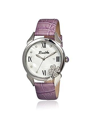 Bertha Women's BR2202 Clover Purple/White Leather Watch