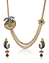 Shining Diva Ethnic Gold Plated Four Strings Mayur Necklace Set