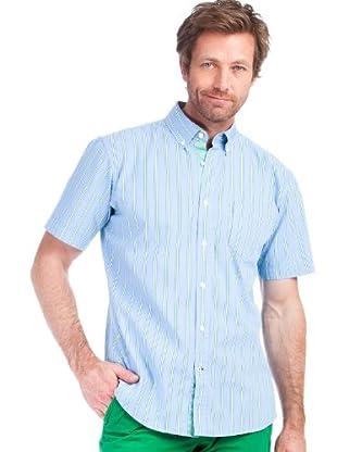 Cortefiel Camisa Rayas (celeste / verde)
