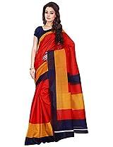 Silk Bazar Women's Tassar Silk Saree with Blouse Piece (Red)
