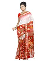 B3Fashion Handloom Tradiutional Ikkat Silk with red floral weaved border and heavily weaved floral pallu and matching Blouse Peice, a perfect party wear