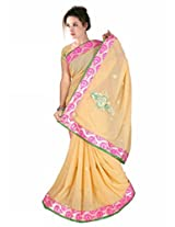 TrynGet's Cream fancy Georgette Saree