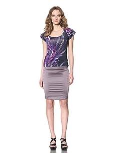 Just Cavalli Women's Flutter Sleeve Feather Print Top (Blue/Purple)