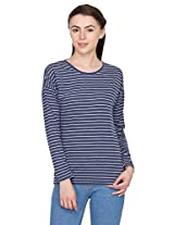 Hypernation Blue and Light Blue Stripped T-Shirts for Women