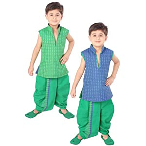 Green Cotton Jacquard Kurta with Dhoti