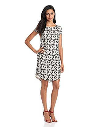 DKNYC Women's Embroidered Short Sleeve Dress (Stone)