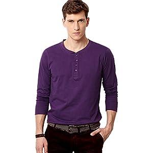 Purple Full Sleeve Henley T Shirt