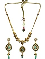 Exotic India Beaded Necklace With Faux Emerald and Cut Glass - Copper Alloy With Cut Glass