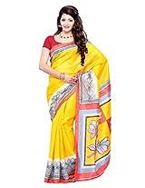 Diva Fashion-Surat Art silk printed yellow saree-DFS399D