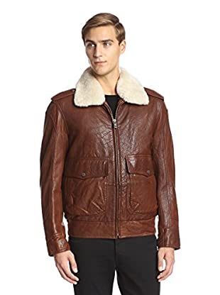 Andrew Marc Men's Corsham Aviator Leather Jacket with Shearling Collar