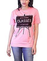THESMO Women's Round Neck Cotton T-Shirt, Pink, L