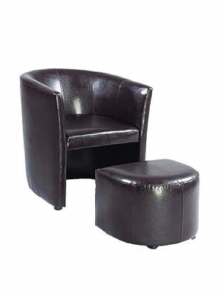 Armen Living Jango Bonded Leather Club Chair & Ottoman, Brown