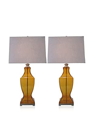 Feiss Set of 2 Glass Table Lamps, Amber