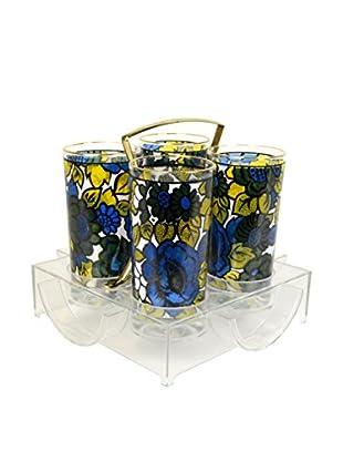 Aviva Stanoff Set of 4 Colorful Enameled Glasses with Caddy, Indigo/Sage