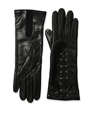 Portolano Women's Lace-Up Leather Gloves (Black)
