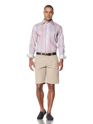 Report Collection Men's Stripe Button-Front Shirt (Orange)