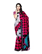 Ambaji Black & White Coloured Dani Georgette Printed Saree
