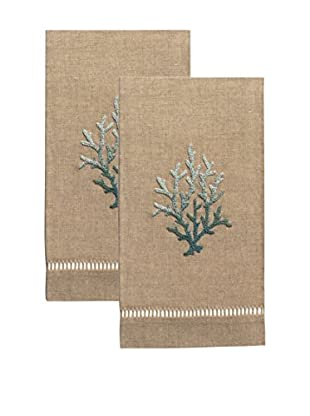 Henry Handwork Set of 2 Blue Coral French Knot Hand Towels, Natural