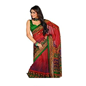 Aalya Red Printed Bhagalpuri Silk Saree