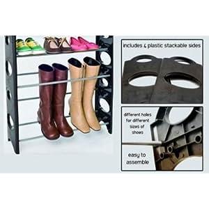 Unique Gadget 12 Pair Stackable Shoe Rack Storage 4 Layer