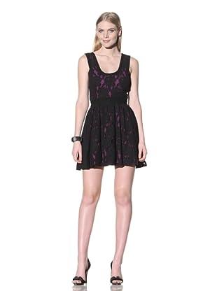 Jay Godfrey Women's Guerin Lace Scoop Neck Dress (Black/Purple)