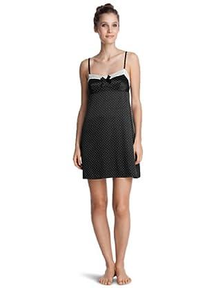 Esprit Bodywear Damen Nachthemd F2836/Luxury Satin (Schwarz (4))
