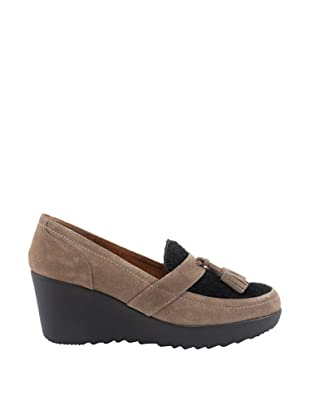 Liberitae Zapatos Borlas (Beige / Negro)