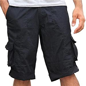 Solid Black Cargo Short