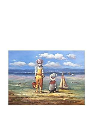 Legendarte Pintura al Óleo sobre Lienzo Bambini Che Giocano In Spiaggia