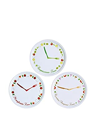 Brunch Time Pizzateller 6er Set Clock Bianco; decorazione multicolore