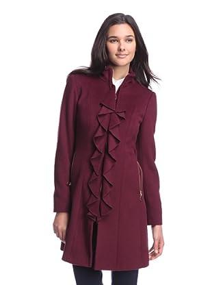 Tahari Women's Kendra Coat with Ruffle (Country Apple)