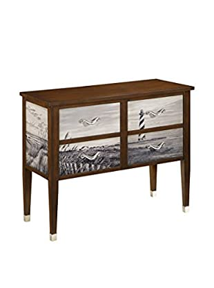 Coast to Coast 4-Drawer Console, Brown/Ivory